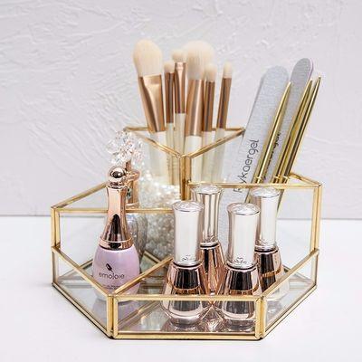 面美甲工具搓条笔刷收纳筒透明玻璃化妆品收纳盒金色北欧SIN风