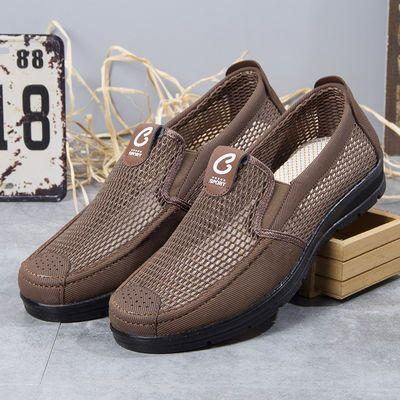老北京布鞋男士中年爸爸夏季网面透气中老年一脚蹬父亲休闲老人鞋