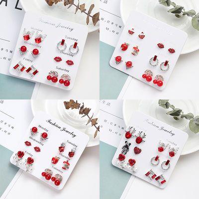 耳钉女学生韩版可爱简约气质网红防过敏小型耳环套装个性百搭耳饰