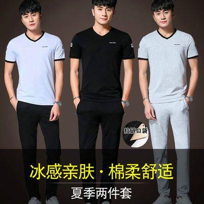 男士套装2020夏季短袖T恤潮流帅气宽松两件套棉t恤男休闲运动套装