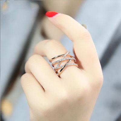 韩版开口戒简约玫瑰金戒指女ins情侣礼物食指戒时尚925银指环学生
