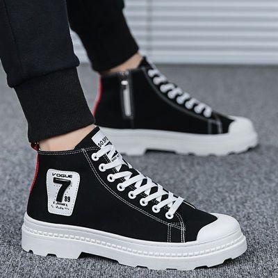 鞋子男潮鞋夏季2020新款百搭韩版高帮板鞋学生透气休闲帆布马丁靴