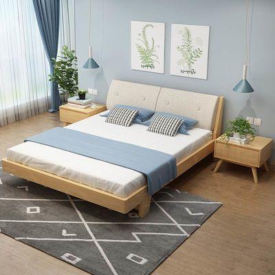 爆款实木床双人床成人欧式软靠背现代简约公主榻榻米单人床工厂直