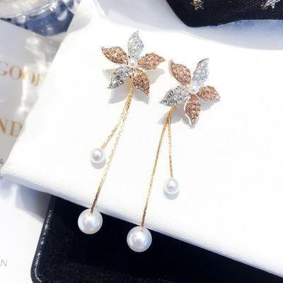 简约百搭小花朵珍珠流苏吊坠耳环女韩国气质长款超仙个性风耳环