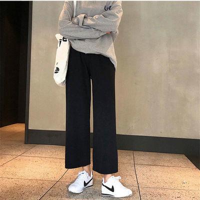阔腿裤女学生韩版黑色直筒裤ins宽松显瘦胖妹妹九分休闲西装裤子