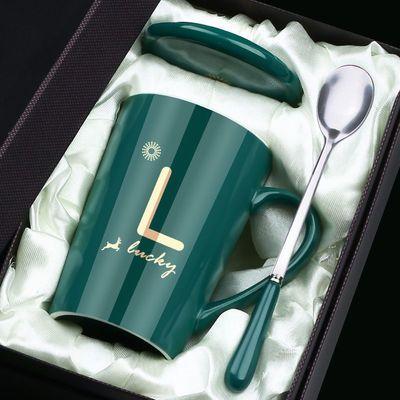 简约马克杯带盖勺男女陶瓷杯子家用韩版学生情侣咖啡早餐杯大容量