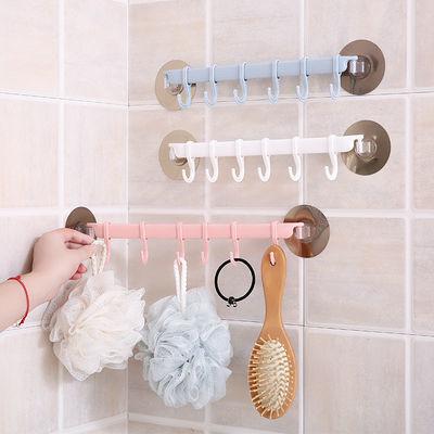 门后强力粘胶挂钩厨房墙壁挂6连排钩 创意浴室免钉无痕挂架挂衣钩