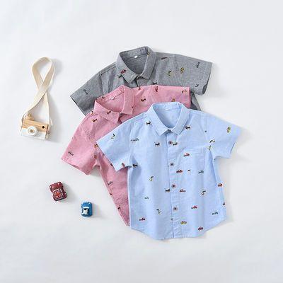 男童短袖薄款夏衬衫2020新款韩版牛津纺纯棉幼童上衣6到10岁衬衣