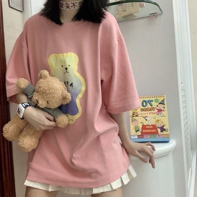 古屋兔丸粉蓝两色软糖小熊可爱童趣印花圆领宽松ins学院百搭T恤女