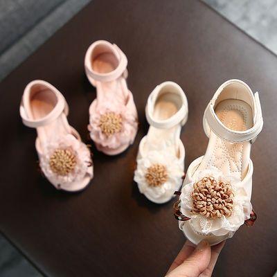 儿童凉鞋女新款鱼嘴凉鞋女童蕾丝大花朵公主凉鞋水晶软底凉拖鞋