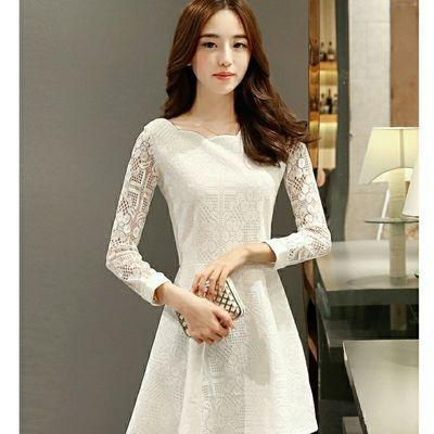 春夏装连衣裙春秋2020新款韩版裙子修身显瘦蕾丝女装长袖裙