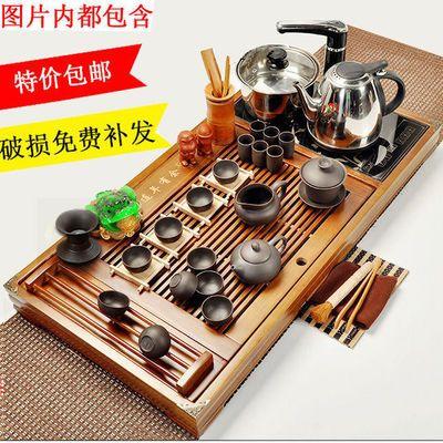 爆款整套实木功夫茶具套装茶盘简约家用四合一电热磁炉紫砂茶道茶