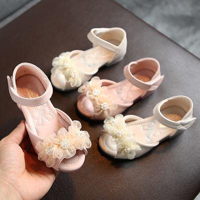 儿童珍珠花朵鱼嘴凉鞋女童公主凉鞋女宝宝防滑水晶底凉拖鞋1-3-5