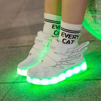 网面闪光鞋usb充电防水发光童鞋男女亮灯夜光荧光鞋宝宝运动灯鞋
