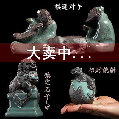 花宠桌面禅意迷你小摆件陶瓷创意茶宠哥窑小和尚微景观装饰品