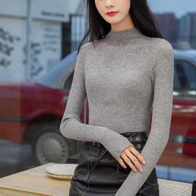 2020秋冬新款女装韩版针织中长款修身套头毛衣裙女拼接长袖针织衫