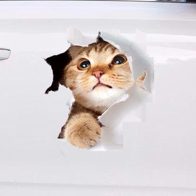 个性小猫咪3D创意汽车贴纸可爱狗狗防水贴膜搞笑遮挡划痕仿真车贴