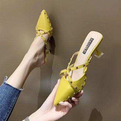 欧美铆钉尖头高跟穆勒鞋细跟包头拖鞋铆钉交叉带凉拖一脚蹬女鞋潮