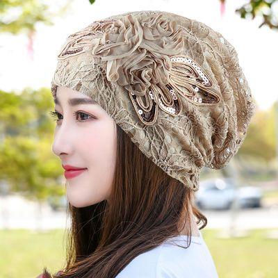 春夏薄款蕾丝蝴蝶结花朵帽子女春秋韩版夏季帽堆堆帽月子帽套头帽