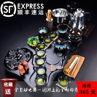 爆款功夫茶具套装家用全自动电磁炉紫砂整套茶道简约四合一体实木