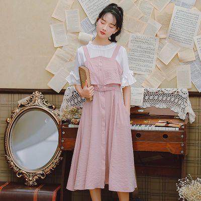 裙子女学生韩版显瘦连衣裙女套装学生仙女裙小清新背带裙两件套装