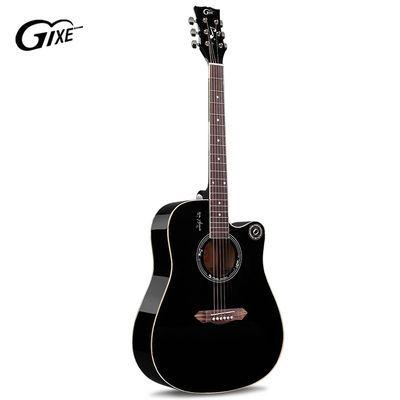 爆款歌西GIXE民谣吉他云杉单板木吉它40寸初学者入门乐器黑色 41