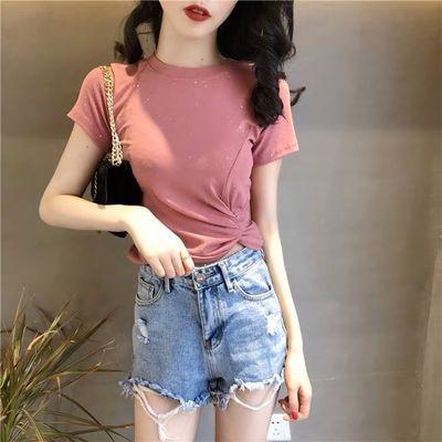 95棉网红夏季短袖t恤女上衣修身显瘦短款学生打底小衫ins风外穿