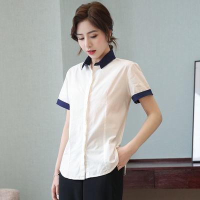 纯棉衬衫女短袖2020夏季新款职业气质修身工装上衣撞色拼接白衬衣