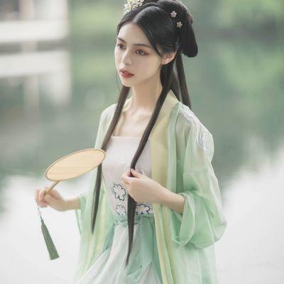 改良汉服女自在飞花步蟾宫齐腰襦裙纱裙唐制日常古装女超仙女夏季