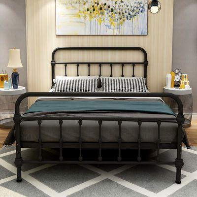 欧式环保现代简约民宿公寓铁架子床单人双人铁艺床1.2米1.5米铁床