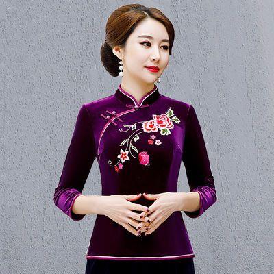 仿香云纱中式妈妈唐装上衣春秋新款中国风女装复古优雅旗袍两件套
