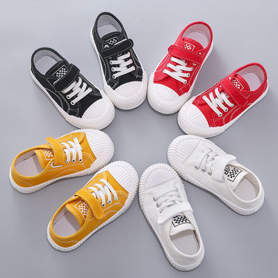 新款儿童帆布鞋男童板鞋女童小白鞋秋季休闲鞋宝宝平底鞋
