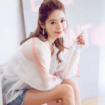 防晒衣女 2020新款夏装刺绣绣花宽松白色薄款外套长袖上衣防晒衫