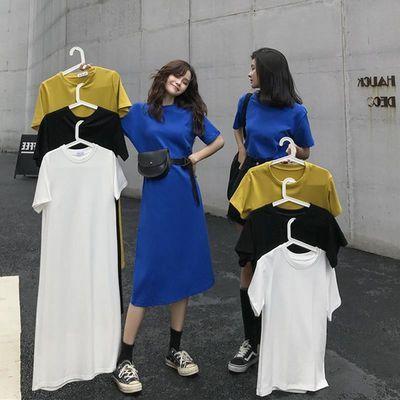 长款T恤裙夏季韩版女装闺蜜宽松显瘦时尚中长款短袖直筒连衣裙潮