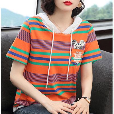 95棉 连帽短袖t恤女上衣2020新款夏季条纹宽松大码带帽半袖上衣潮