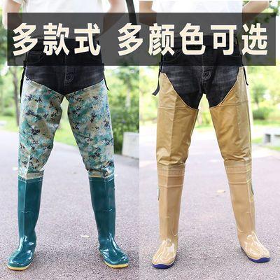 2020新品特卖齐腰下水裤半身男雨裤加厚插秧水鞋高筒雨靴连体雨鞋
