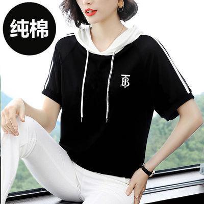 纯棉2020新款连帽t恤女短袖夏装半袖印花宽松显瘦五分袖体恤上衣