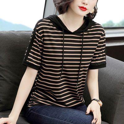 2020春装t恤女短袖2020新款韩版减大码宽松条纹连帽夏季时髦上衣