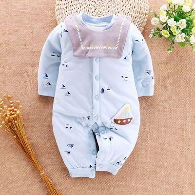 婴儿连体衣春秋加棉薄款保暖男女宝宝夹棉新生儿衣服棉衣哈衣爬服