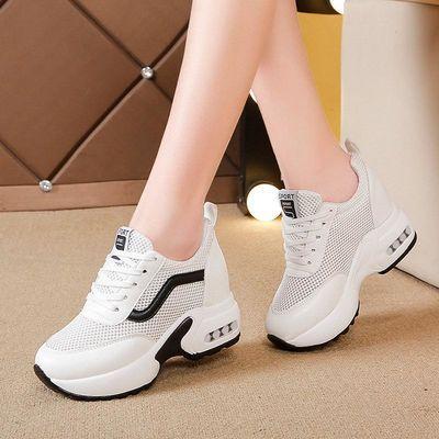 内增高小白鞋女2020新款女鞋春夏季网面运动百搭鞋子透气休闲网鞋