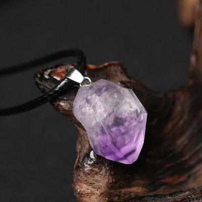 紫水晶原石吊坠天然原石项链紫晶随形不规则锁骨链女闺蜜小饰品