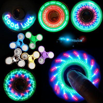 带灯发光指尖陀螺成人减压神器手指陀螺金属儿童学生水晶陀螺玩具
