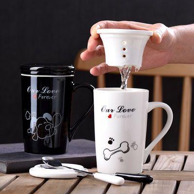 情侣陶瓷杯子创意韩版马克杯带盖勺牛奶杯早餐杯办公室水杯猫咪杯