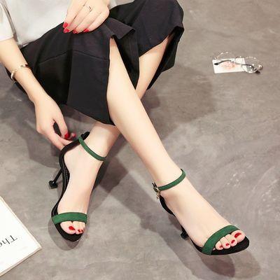2020夏季新款韩版百搭高跟鞋女中跟细跟一字扣带露趾猫跟气质凉鞋