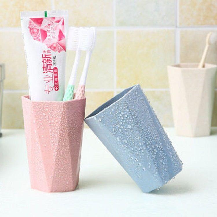37770-小麦秸秆几何菱形刷牙杯漱口杯创意可爱喝水家用情侣牙刷杯洗漱杯-详情图