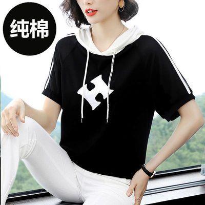 100%棉2020新款连帽t恤女短袖夏装半袖宽松显瘦五分袖体恤上衣女
