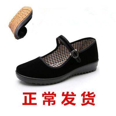 格子精品女鞋牛筋底平跟工作鞋女老北京布鞋女鞋黑色酒店工作鞋