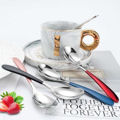 网红可爱304不锈钢彩色新款儿童勺搅拌咖啡勺甜品勺家用小调羹