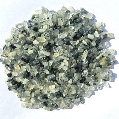 天然黑发晶水晶碎石消磁石五行能量水晶原石鱼缸石供佛多肉碎石