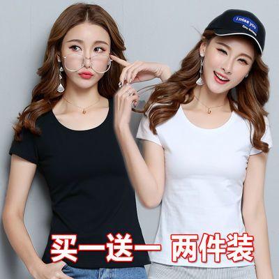 白色t恤女短袖夏季女装韩版修身纯色打底衫体恤大码百搭半袖上衣